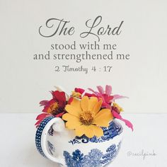 The Lord stood with me and strengthened me. 2 Timothy 4 : 17
