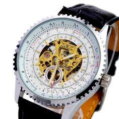 JARAGAR A489 Business Man Mechanical Watch with PU Leather Band-Black watchband