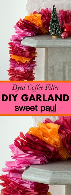 An easy and festive garland made of dyed coffee filters. The color variations are endless! Coffee Filter Garland, Coffee Filter Crafts, Coffee Filter Flowers, Coffee Filters, Kids Party Decorations, Diy Wedding Decorations, Kids Decor, Ideas Party, Diy Party