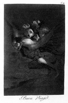 Francisco Goya: Los caprichos n° 64.  Phantasmal imagination based on the darkness of his life.