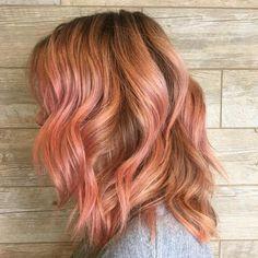 Peachy pink Aveda hair color by Aveda Artist Maria at G Aveda Salon & Spa.