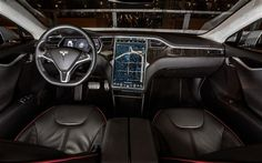 """Here is the inside of Jack White's new """"ride"""" the Tesla Model S. The entire dashboard is one touchscreen."""
