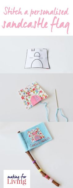Sew a sandcastle flag with felt and this printable castle template. Sweet little learn to sew felt craft for kids. Sewing Lessons, Sewing Hacks, Sewing Crafts, Summer Crafts, Crafts For Kids, Christmas Presents To Make, School Summer Holidays, Quick And Easy Crafts, Felt Crafts