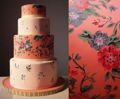 painted wedding cake // charm city cakes via design*sponge Pretty Cakes, Cute Cakes, Beautiful Cakes, Amazing Cakes, Cake Toppers, Charm City Cakes, Hand Painted Cakes, Take The Cake, Floral Cake