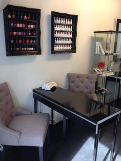 Polish Display Frame Black Gloss French Baroque by allaboutaliza Home Nail Salon, Nail Salon Design, Nail Salon Decor, Salon Interior Design, Beauty Salon Interior, Nail Station, Small Salon, Nail Room, Nail Designer