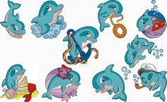 Free embroidery designs   cute dolphin set