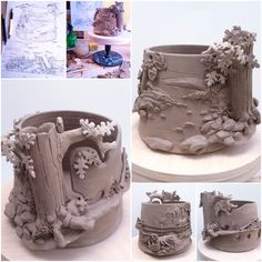 Made from thrown and modelled white earthenware. Fimo Clay, Ceramic Clay, Ceramic Painting, Clay Art Projects, Ceramics Projects, Cement Crafts, Clay Crafts, Advanced Ceramics, Clay Bowl