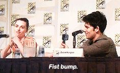 "for-mergana: "" Colin and Katie best moment at SDCC. "" Katie McGrath and Colin Morgan being cute and funny at SDCC. Watson Sherlock, Sherlock John, Benedict Sherlock, Jim Moriarty, Benedict Cumberbatch, Sherlock Holmes, Merlin Funny, Merlin Memes, Merlin Fandom"