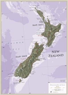 New Zealand. Maps are for explorers, for planners, for dreamers and for inspiration. Map Of New Zealand, New Zealand Travel, New Zealand Holidays, Wynn Las Vegas, Last Holiday, Kings Island, Journey Mapping, Country Names, New Zealand