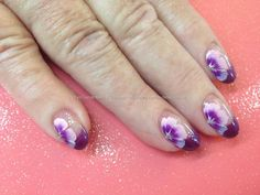 Purple+tips+with+one+stroke+nail+art+over+acrylic+nails