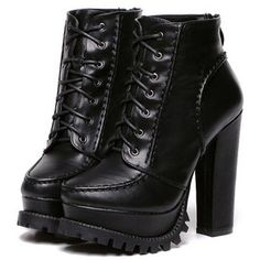 SheIn(sheinside) Black Chunky High Heel Hidden Platform Boots
