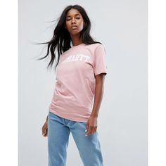 Carhartt WIP Oversized T-Shirt With College Logo (61 CAD) ❤ liked on Polyvore featuring tops, t-shirts, pink, sport t shirt, pink t shirt, logo tee, carhartt t shirt and short sleeve tee