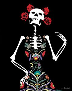 Illustration of the Mexican Catrina skeleton in an elaborate floral dress for Dia De Los Muertos the Day of the Dead. #dayofthedead #diadelosmuertos #catrina #gothic #evilkid