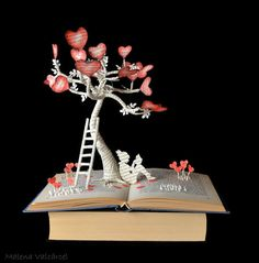 The Tree of Love - book art sculpture by Malena Valcarcel. Malena makes gorgeous book art sculptures and other paper art, and sells them on Etsy. Folded Book Art, Paper Book, Book Folding, Altered Books, Altered Art, Book Crafts, Paper Crafts, Origami, Paper Tree