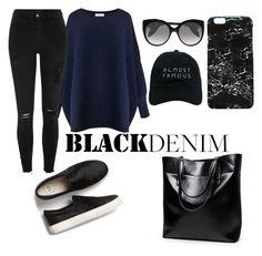 """black denim"" by anastasia-sutawijaya on Polyvore featuring Rianna Phillips, Paisie, River Island, Alexander McQueen and Nasaseasons"