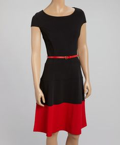 Look what I found on #zulily! Black & Red Fit & Flare Belted Dress by Glamour #zulilyfinds