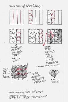 Tickled To Tangle: Tugging at your Heartstrings -- Notes on Helen Williams' tangle heartstrings