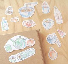 Korean food illustration stickers in my bullet journal.