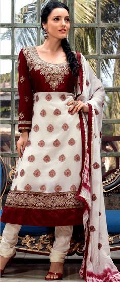 Off White and Maroon Viscose Jacquard Churidar #Kameez @ $82.99 | Shop Here: www.utsavfashion.com/store/sarees-large.aspx?icode=khs129