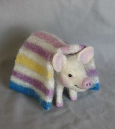 Needle Felted Pig in a Blanket by Laurie Valko