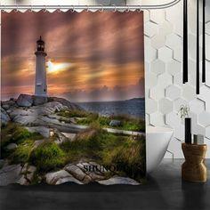 Best Nice Custom Lighthouse Shower Curtain Bath Curtain Waterproof Fabric Bathroom Curtain MORE SIZE A6.1-131