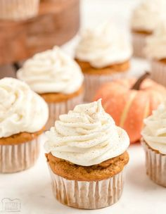 Best Pumpkin, Canned Pumpkin, Pastry Recipes, Dessert Recipes, Cupcakes With Cream Cheese Frosting, Yellow Cake Mixes, Instant Pudding, Pumpkin Spice Cupcakes, Pumpkin Recipes