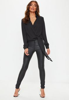 Black Wrap Over Tie Side Blouse . Order today & shop it like it's hot at Missguided. Babe, Pointed Heels, Leather Trousers, Cute Woman, Black Blouse, Missguided, Black Tops, Casual, Going Out