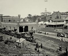 """Nashville Downtown Tennessee Railroad Yards (the Kane Avenue Yard) with State Capitol in background Circa: Civil War. Now called """"Railroad Gulch"""" American Civil War, American History, American Pie, Old Pictures, Old Photos, Train Pictures, Vintage Pictures, Old Trains, Civil War Photos"""