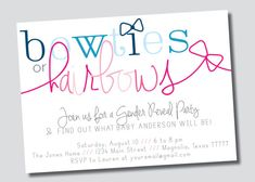 Gender Reveal Party // Bowties or Hairbows Invitation on Etsy, $15.00