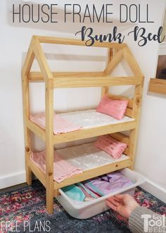 House Frame Doll Bunk Bed Plans - Her Tool Belt Cosas American Girl, American Girl Doll Bed, Baby Doll Furniture, Kids Furniture, Furniture Online, Bedroom Furniture, Furniture Design, Bunk Bed Plans, Diy Doll Bed Plans