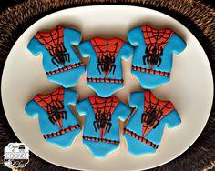 Baby Shower Spiderman Onesies Cookies www.cakesandcookiesbyclau.com