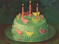 When I spotted this vintage cake in that vintage Airy Fairy booklet, I fell in love. Such a pretty pastel cake with bunnies and chicks arou. Retro Recipes, Vintage Recipes, Pretty Cakes, Beautiful Cakes, Happy Birthday, Birthday Cake, Chicken Cake, Vintage Baking, Vintage Food