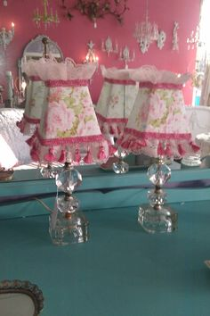 shabby chic boudoir lamp pair pink rose by VintageChicFurniture, $165.00