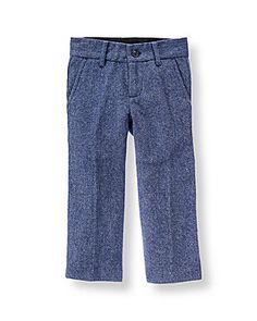 Baby Boy Navy Herringbone Herringbone Suit Trouser at JanieandJack