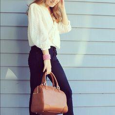 Ivory blouse and camel bbrown satchel | mackenziehoran, Instagram