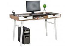 Mesa de Ordenador HELIOS, superficie en cristal y madera, 130x60 - 130x60cm, color nogal- 229 euros