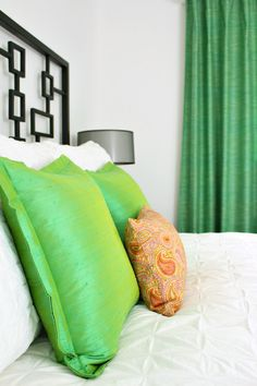 Green bedroom accents