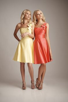 I like these colours together  A-line One-shoulder Satin Knee-length Bridesmaid Dress with Bow