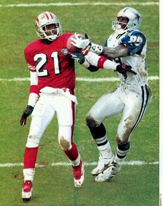 """Sanders and Irvin 1994 Championship game - This the play where no pass interference was called, and Switzer was thrown out of the game for complaining to the ref. Irving and Sanders still debate the """"no-call"""" to this day Dallas Cowboys Football, Dallas Cowboys Pictures, Football Pictures, Football Team, Football Helmets, Cowboys 4, Sports Pictures, How Bout Them Cowboys, Football Conference"""
