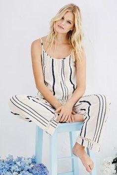 Buy White & Blue Woven Stripe Cami Pyjamas from the Next UK online shop Striped Pyjamas, Best Lingerie, British Style, British Fashion, Pajamas Women, Nightwear, Lounge Wear, Women Wear