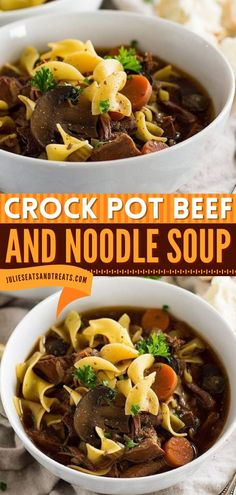 Crock Pot Beef and Noodle Soup is a comfort food recipe loaded with stew meat, carrots, celery, mushrooms, and egg noodles! This big bowl of hearty soup is an easy comfort food dinner perfect for the family. Save this pin! Best Crockpot Recipes, Stew Meat Recipes, Best Soup Recipes, Slow Cooker Recipes, Recipe Stew, Cooking Recipes, Crockpot Meals, Chips Ahoy, Shawarma