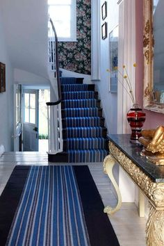 Discover hallway design ideas on HOUSE - design, food and travel by House & Garden. Make your hallway a stylish room of its own with these design ideas. Hall And Stair Runners, Hallway Carpet Runners, Hall Runner, Painted Wooden Floors, Painted Stairs, Best Carpet For Stairs, Carpet Stairs, Hall Carpet, Staircase Makeover