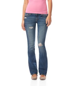 Chelsea Bootcut Destroyed Medium Wash Jean - Aeropostale