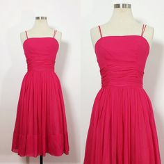 1950s Party Dress / Vintage Pink Party Dress / Pink Cocktail Dress / Vintage Dress 4 / Party Dress Small / Vintage Prom Dress