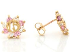 Yellow Gold Pink and White CZ Birthstone 15 Anos Quinceanera Ring - Jewelry Liquidation
