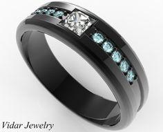 Mens Wedding Band Black Gold Aquamarine Princess Cut Diamond Ring