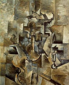 Violin and Candlestick, George Braque 1910. Braque exhibited with the Fauvists before establishing himself as a Cubist in the early 1900s