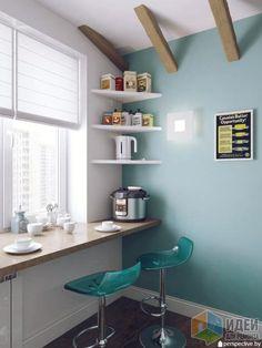 Дизайн кухни, светлая кухня фото, стол-подоконник кухня