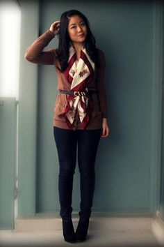 tie a silk over a cardigan and fasten it with a belt - nice !