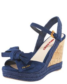 Open-Toe Bow Wedge Sandal by Prada at Bergdorf Goodman.